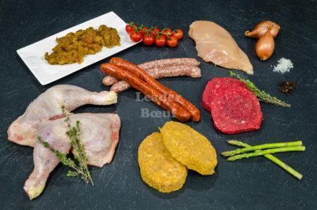"""Assortiment """"Junior"""" 30 personnes. Cuisse et blanc de Poulet, sicilienne de volaille, bifteck haché, escalope de veau, merguez ou chipolatas"""