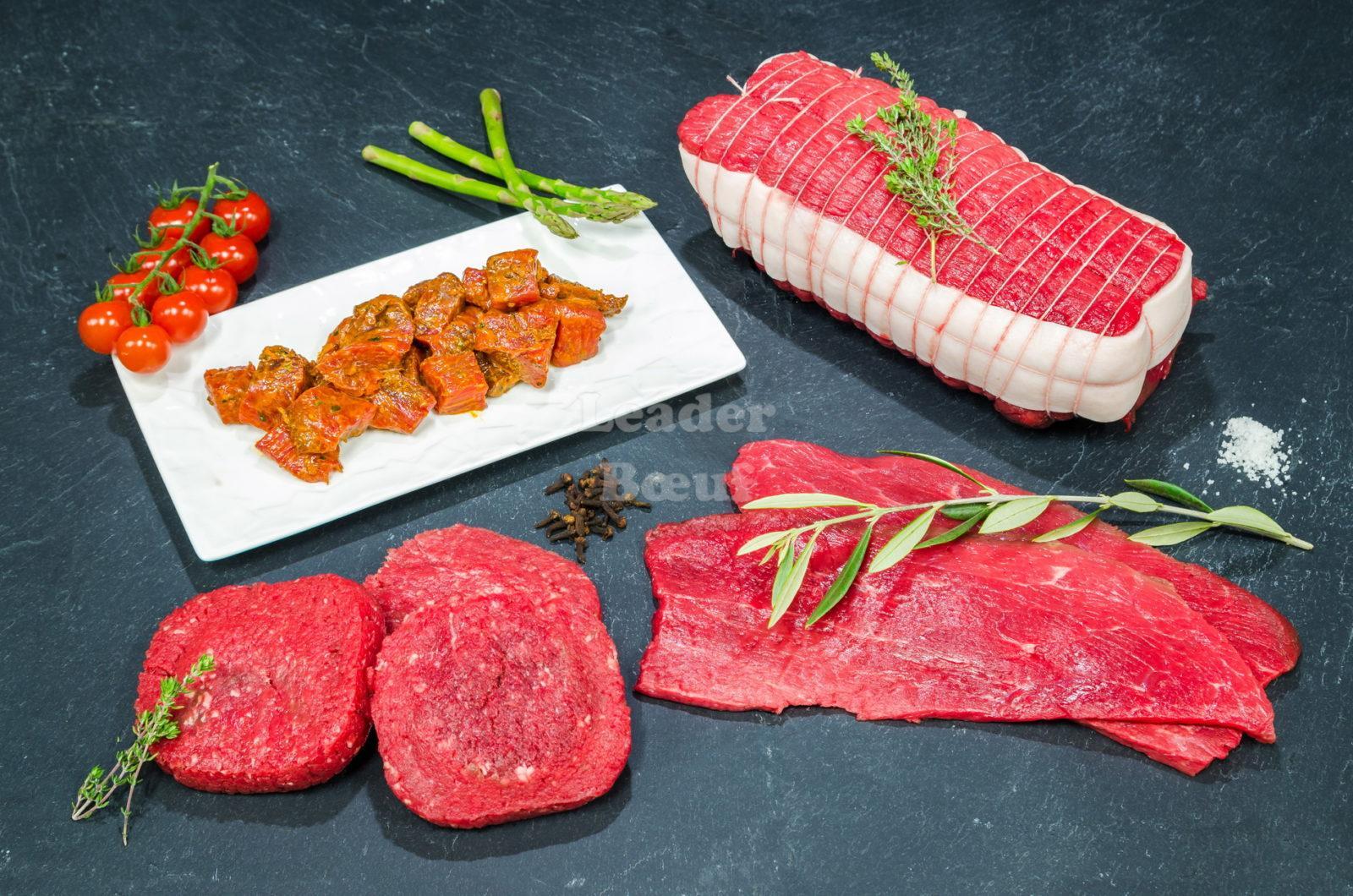 """Assortiment """"Mini-bœuf"""" 25 personnes.  Rôti de bœuf, bifteck aiguillette, bifteck haché, bœuf mariné"""