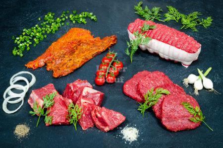"""Assortiment """"Petit bœuf"""" 20 personnes. Bifteck échalote, rôti de bœuf tranche, bœuf à bourguignon, bifteck haché"""
